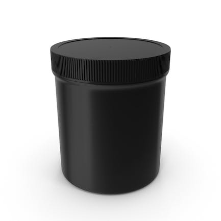 Black Plastic Jar Wide Mouth Straight Sided 16oz Closed