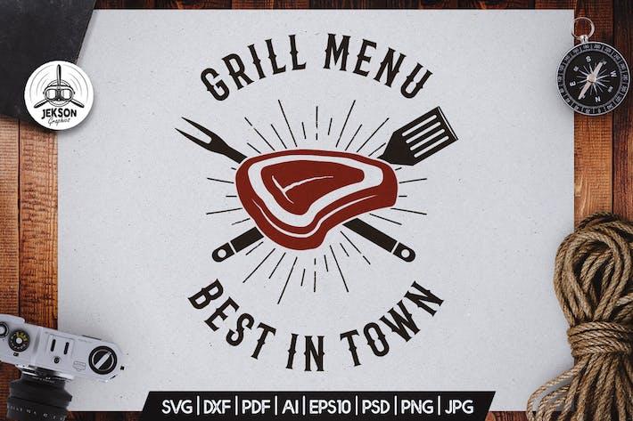 Thumbnail for Grill Menu BBQ Logo Design Rétro Vecteur Badge SVG