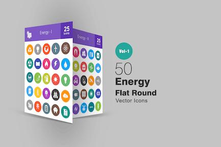 50 Energy Flat Round Icons