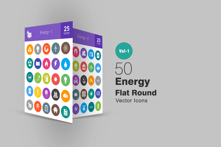 Thumbnail for 50 Energy Flat Round Icons