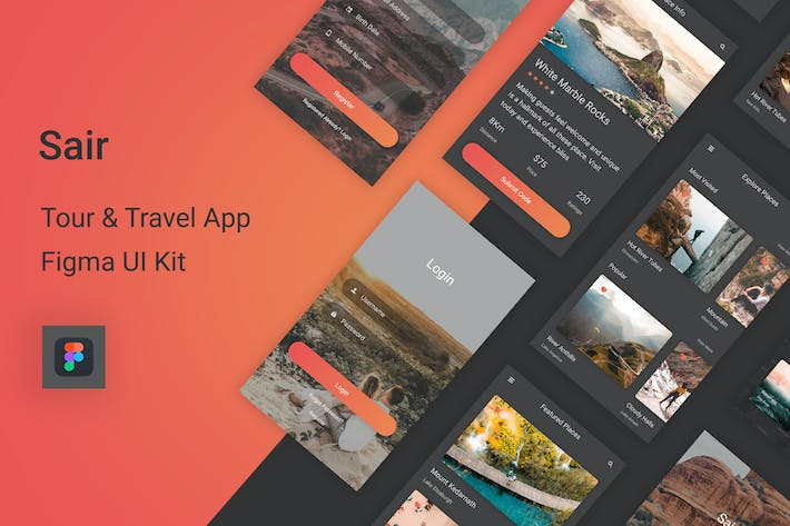 Thumbnail for Sair - Tour & Travel Figma UI Kit