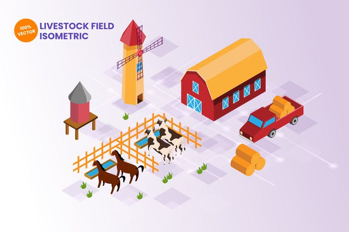 Thumbnail for Isometric Livestock Farming Vector Illustration