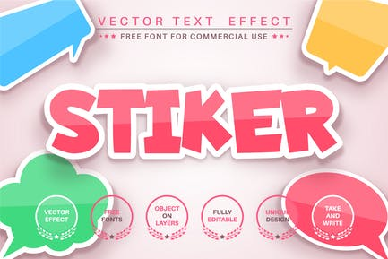 Color sticker - editable text effect,  font style.