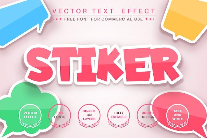 Цветная наклейка - редактируемый текстовый эффект, стиль шрифта.