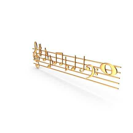 Golden Music Stave and Notes
