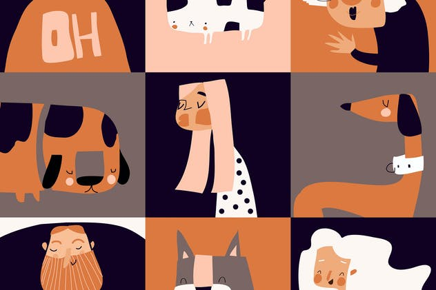 Funny pets with their owners. Vector set