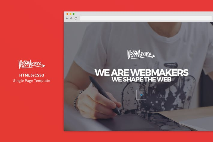 Thumbnail for Webmakers - Single Page HTML/CSS Template