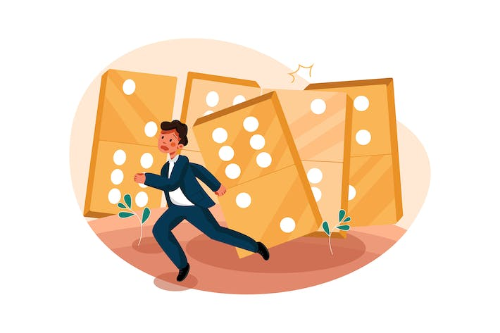 Thumbnail for Businessman escaping from falling dollar dominos