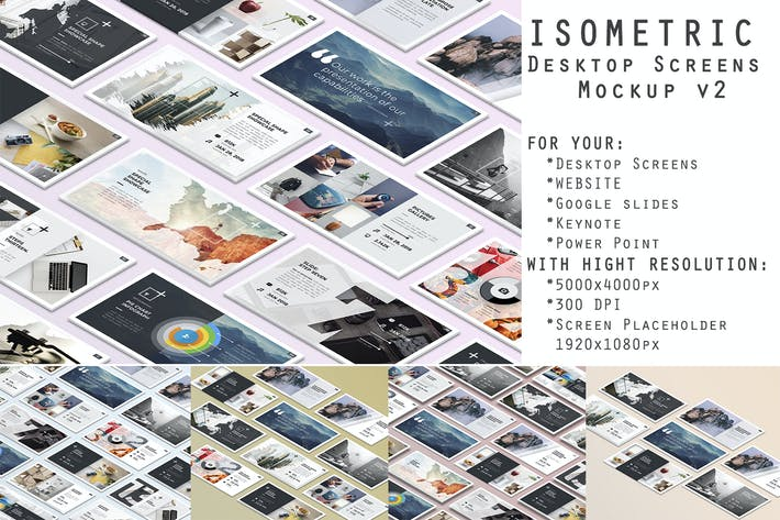 Thumbnail for Isometric Desktop Screens Mockup V02