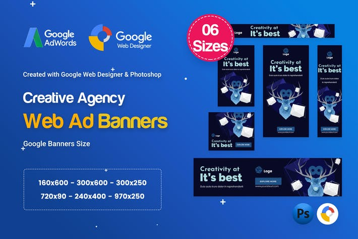 Thumbnail for Creative, Startup Agency Banners HTML5 Ad D64