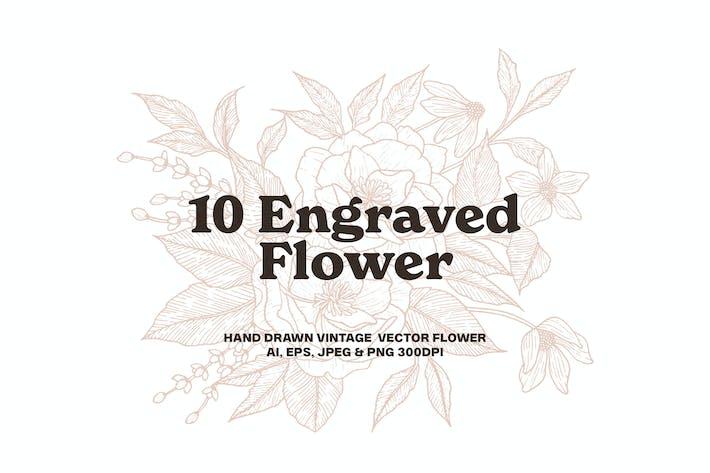 10 Engraved Flower