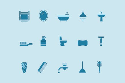 15 Bathroom and Toilet Icons