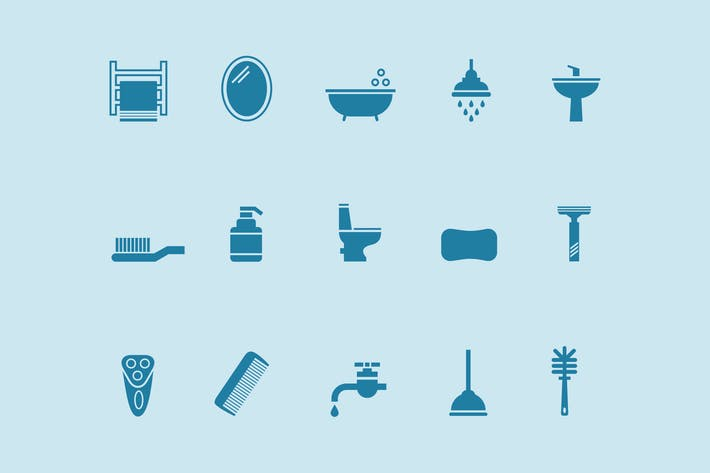Cover Image For 15 Bathroom and Toilet Icons