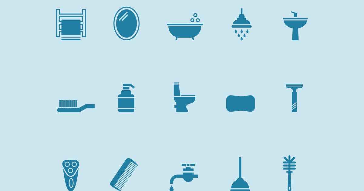 Download 15 Bathroom and Toilet Icons by creativevip