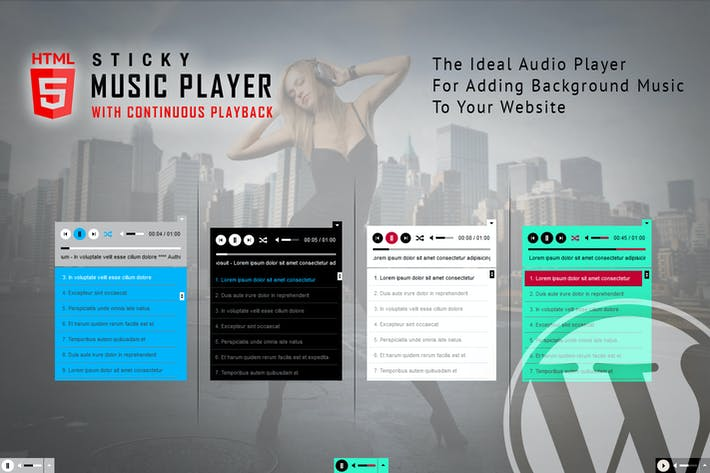 Cover Image For Sticky HTML5 Music Player WordPress Plugin