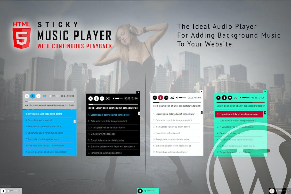 Sticky HTML5 Music Player WordPress Plugin by LambertGroup on Envato Elements