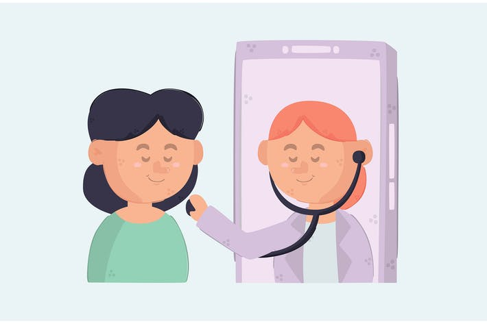Online Healthcare on Smartphone Illustration