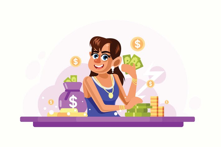 Thumbnail for Young Rich Woman Vector Illustration