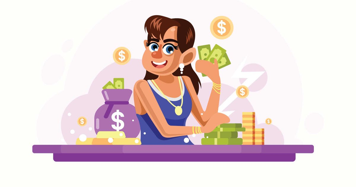 Young Rich Woman Vector Illustration by IanMikraz