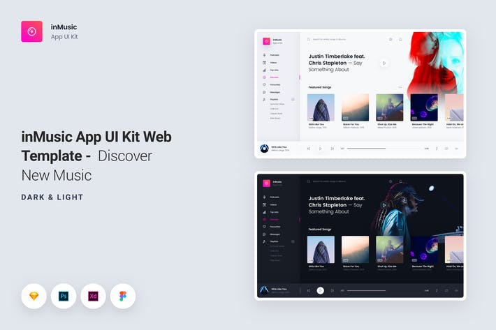 Cover Image For inMusic App UI Kit Web Template - Discover
