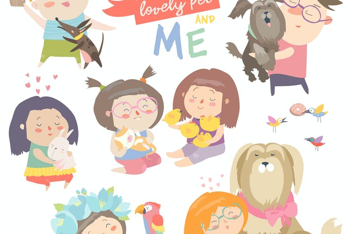 Cover Image For Set of characters. Children with pets. Vector