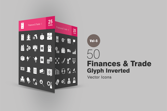 50 Finances & Trade Glyphe Inverted Icons