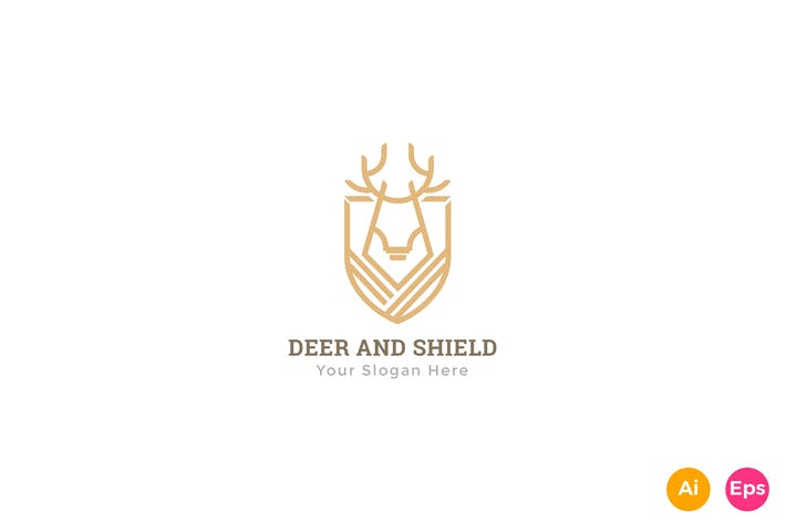 Thumbnail for Deer Shield Heraldry Logo Template