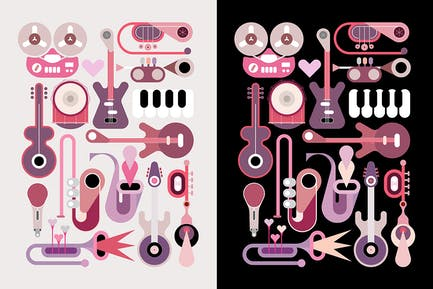 Music Instruments Vector Icon Set