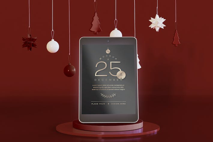 Tablet Mockup with Christmas Decoration