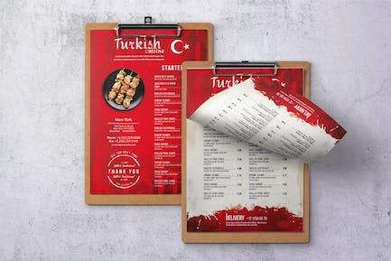 Turkish Cuisine Single Page A4 & US Letter Menu