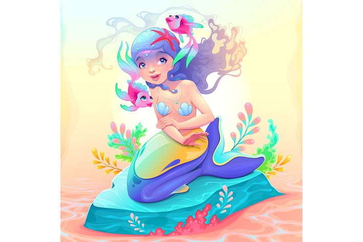 Thumbnail for Young Mermaid with a Couple of Fish Around Her
