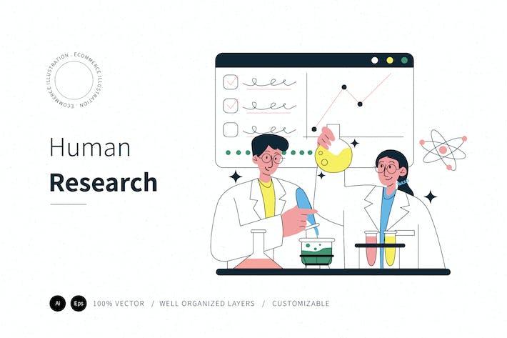 E-Commerce-Illustration der menschlichen Forschung
