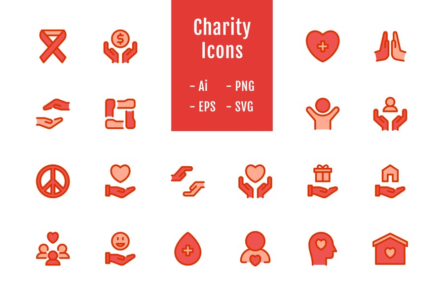 20 Charity Icons (Lineal Color)