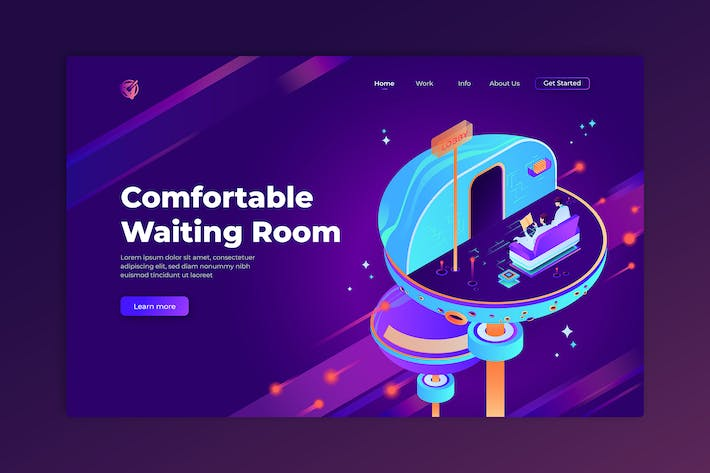 Comfortable Waiting Room - Isometric Landing Page