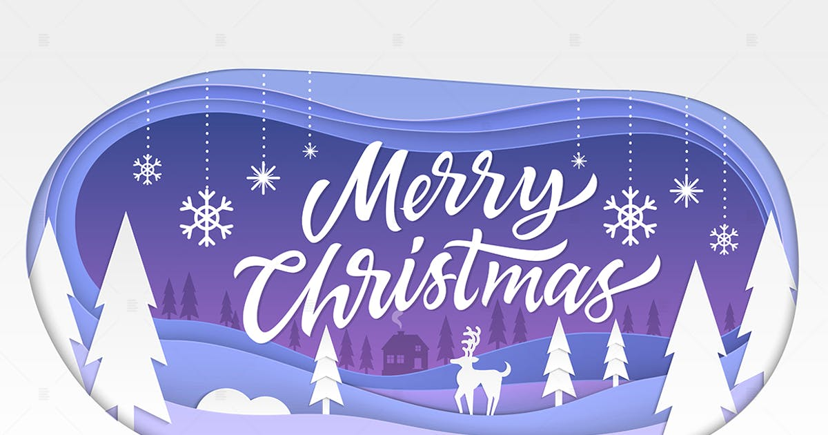 Download Merry Christmas - modern paper cut illustration by BoykoPictures