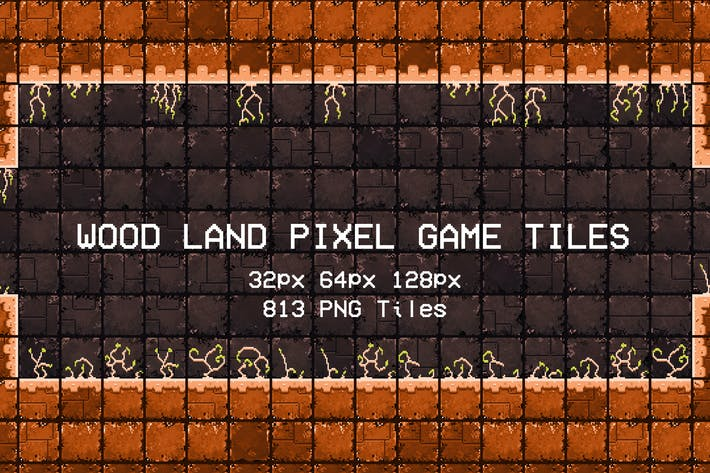 Wood Land Pixel Game Tiles
