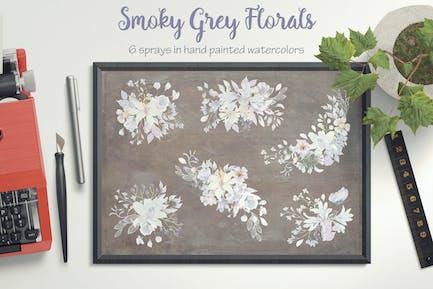 Floral Sprays in Smoky Grey Tones