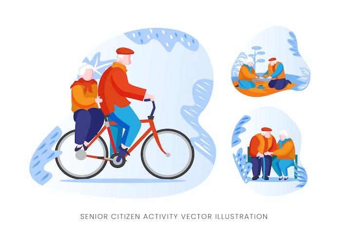 Senior Citizen Vector Character Set