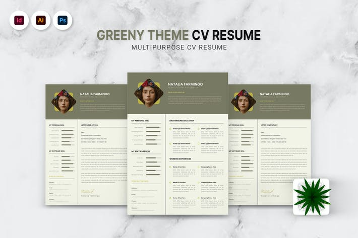 Thumbnail for Greenery Theme CV Resume