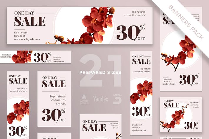 Cosmetics Sales Banner Pack Template