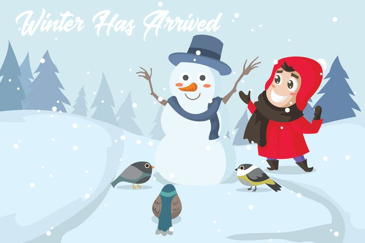 Cover Image For Winter Holiday - Vector Illustration