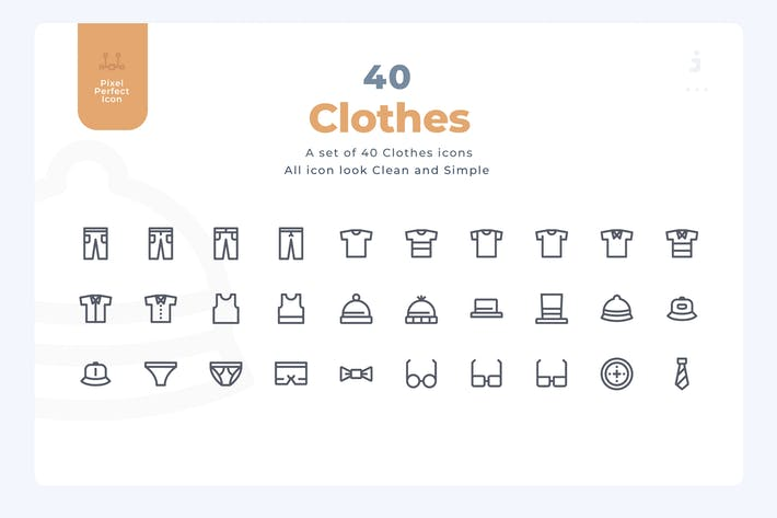 Thumbnail for 40 Clothes Icons - Material Icon
