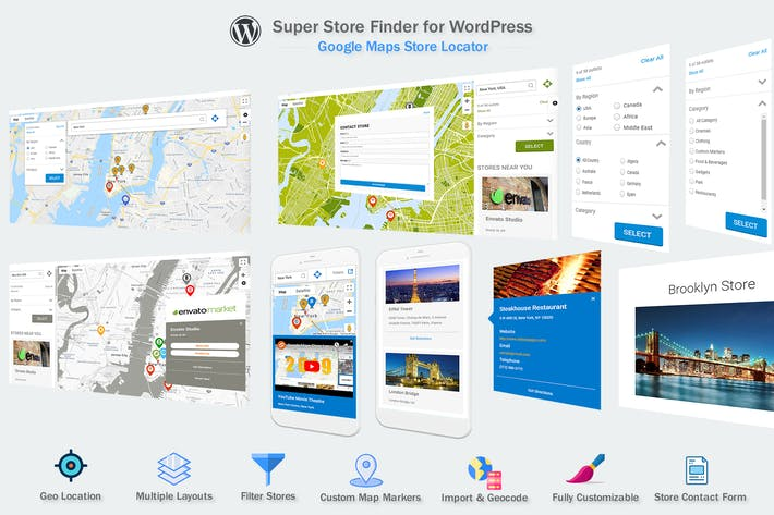 Cover Image For Google Maps Store Locator WordPress Plugin