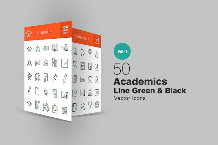 50 Academics Line Grün & Schwarz Icons