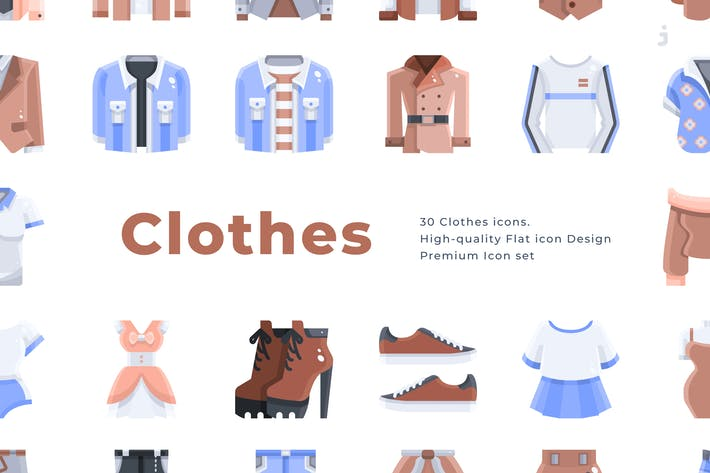 Thumbnail for 30 Clothes Icons - Flat