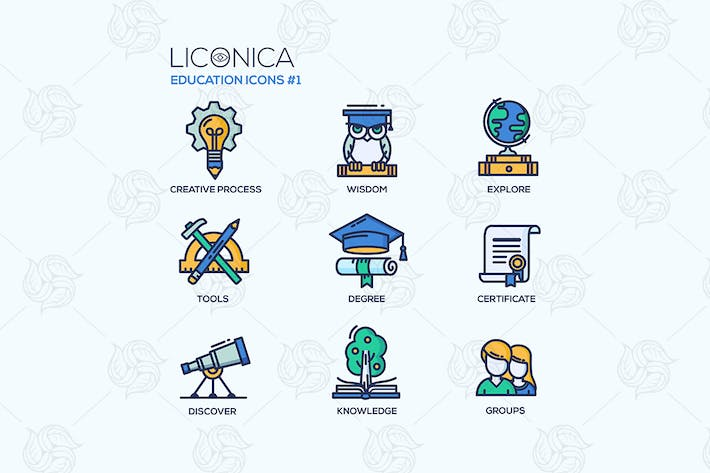 Thumbnail for Education - line design style icons set