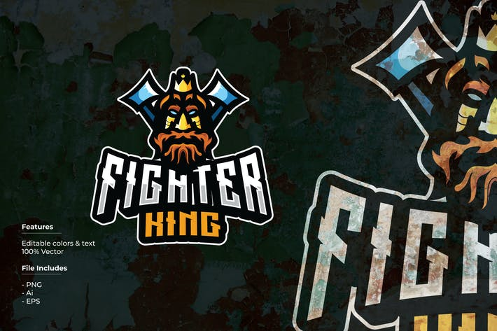 Fighter King Sport and Esport Logo Template
