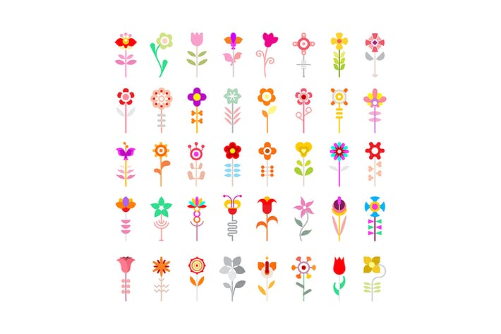 Thumbnail for Flower Vector Icon Set Isolated on a White