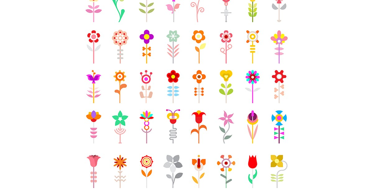 Flower Vector Icon Set Isolated on a White by danjazzia