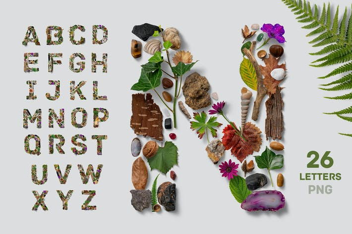 Cover Image For Flatlay Nature Alphabet